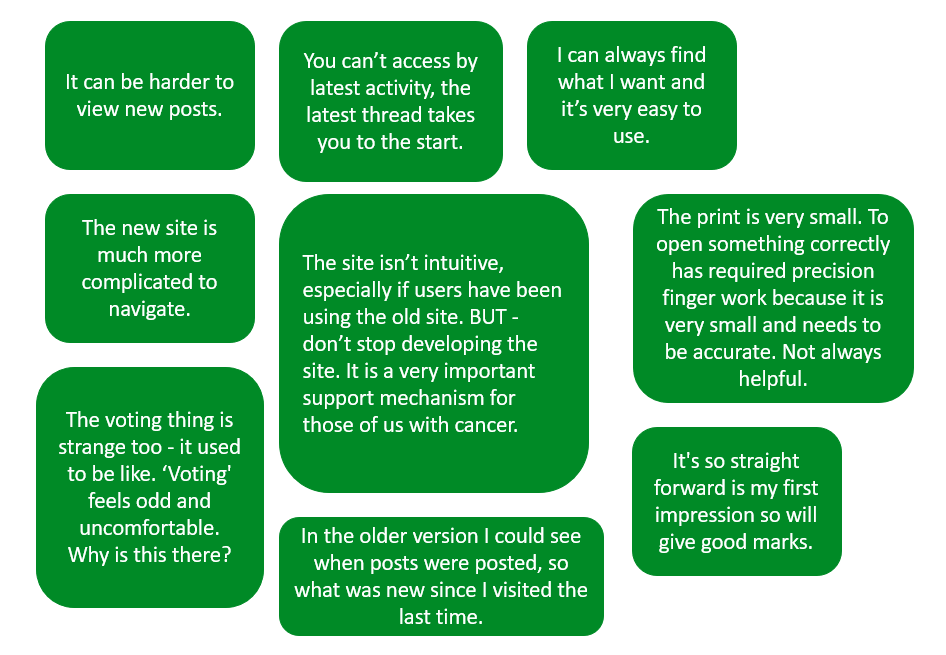 Image showing 9 feedback quotes from Community users