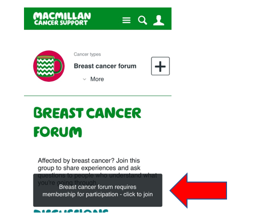 Screenshot of the breast cancer group page showing the black 'join group' banner.