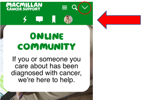 Screenshot of the Community on a mobile with the white down arrow circled in red.