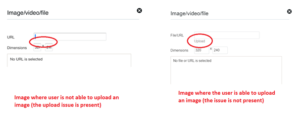 Image of the upload an image screen. Image on the left has no 'upload' option. Image on the right has an 'upload' option.