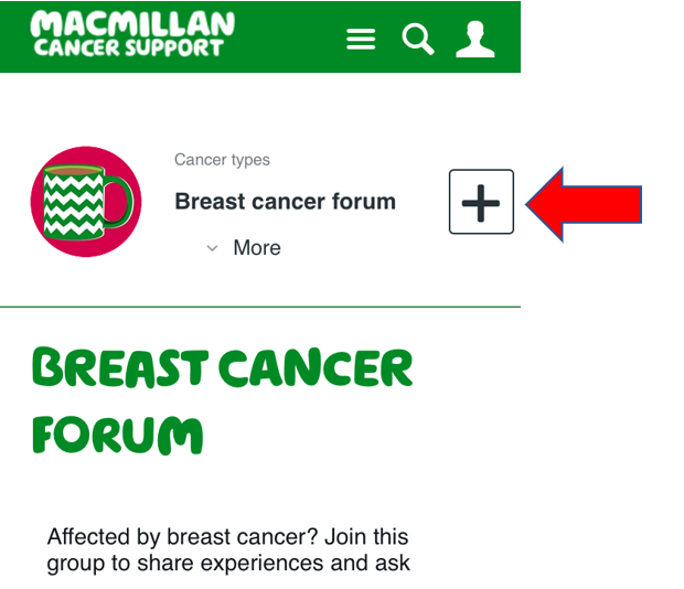 Screenshot of the breast cancer group page showing the 'plus' button.