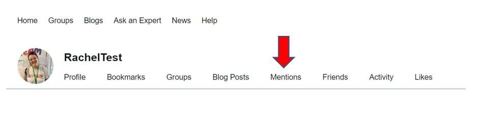 Screenshot of a Community profile, with a red arrow pointing to the mentions tab.