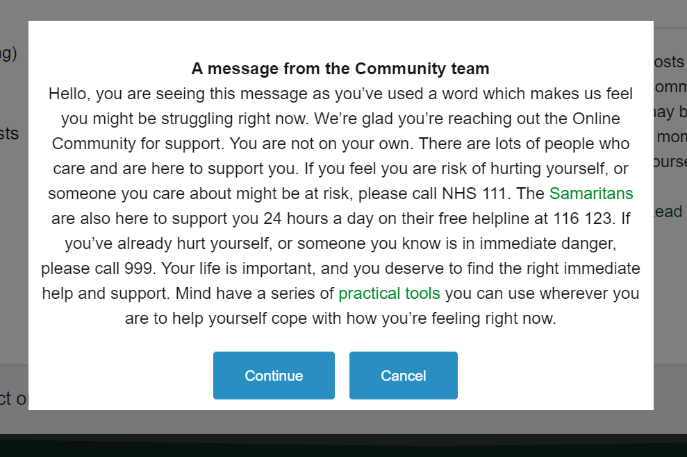 Screenshot of the pop up safeguarding message called 'A message from the Community team'.