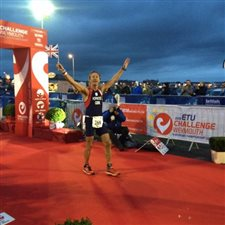 Martin at the finish of the European Long Course Triathlon Championships