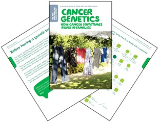 Images of the Cancer Genetics booklet cover and other pages