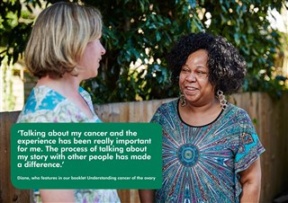 Picture and quote from Diane 'Talking about my cancer and the experience has been really important for me. The process of talking about my story with other people has made a difference.'