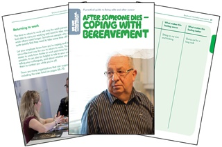 The image shows a splay of three pages from our bereavement booklet.
