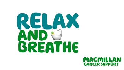 A banner which says Relax and breathe