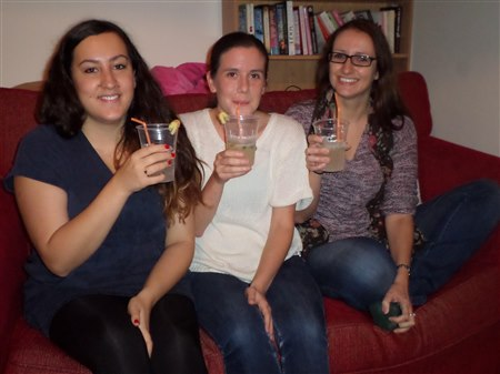 A photos of Sarah, Abi and Debbie drinking Lemon and ginger fizz