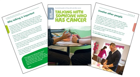 an image of our booklet, Talking with someone who has cancer