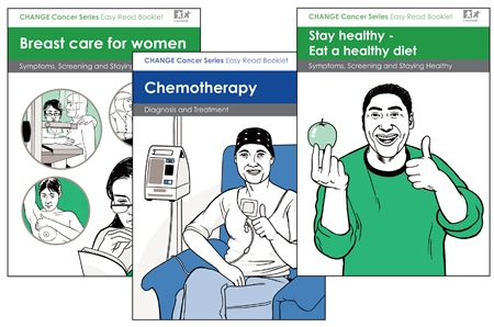 Image of front covers of some easy read booklets about cancer