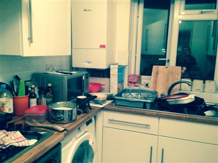 An image of Abi's messy kitchen after a night of baking