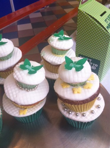An image of Macmillan branded butterfly cakes