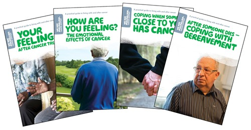 this image shows a splay of titles about coping with cancer and your emotions that are available for free from the be macmillan website