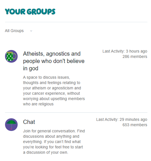"""Your groups"" section"