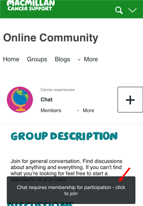 """Join"" banner at the bottom of groups"