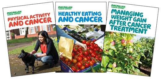 This image shows the front covers of three of our booklets on healthy living, Healthy eating and cancer, Physical activity and cancer and Managing weight gain.