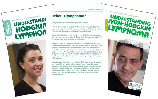 This image shows the front covers of our two booklets, Understanding Hodgkin lymphoma and Understanding non-Hodgkin lymphoma.