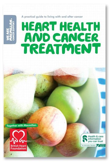 This image shows the front cover of our Heart health and cancer treatment booklet and eBook. It has the title in green bubble writing and a photo of a bowl of apples below.