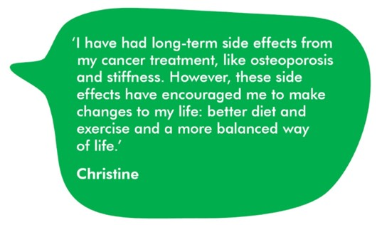 Quote from Christine which reads: 'I have had long-term side effects from my cancer treatment, like osteoporosis and stiffness. However, these side effects have encouraged me to make changes in my life: better diet and exercise and a more balanced way of life.'