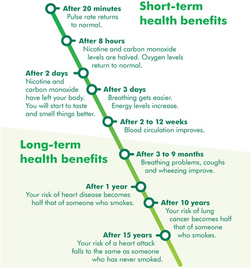 This is a timeline of the short-term health benefits of stopping smoking.  After