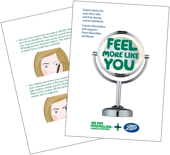Illustration showing pages from the Feel more like you booklet