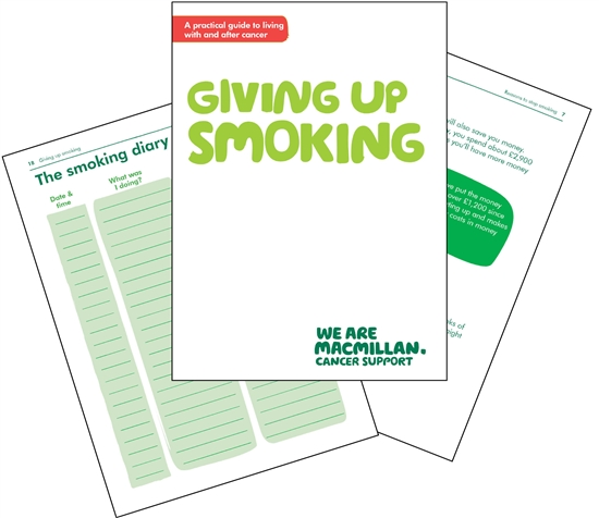Front cover and two inside pages of our booklet Giving up smoking