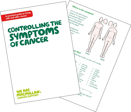 Image showing the front cover and an inside page of Controlling the symptoms of cancer