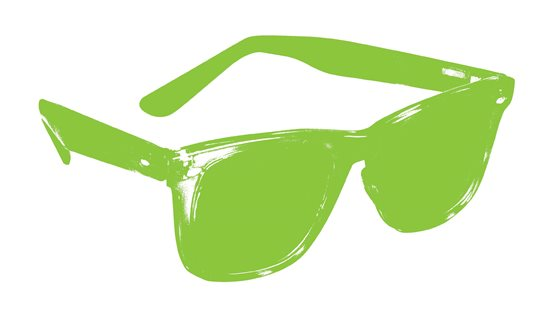 A green silhouette of a pair of sunglasses