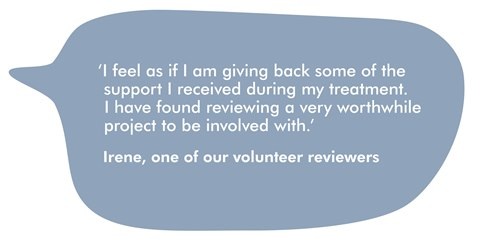 This image is a speech bubble, with a quote from Irene, on our volunteer reviewers. It reads ''I feel as though I am giving back some of the support I received during my treatment. I have found reviewing a very worthwhile project to be involved with.'