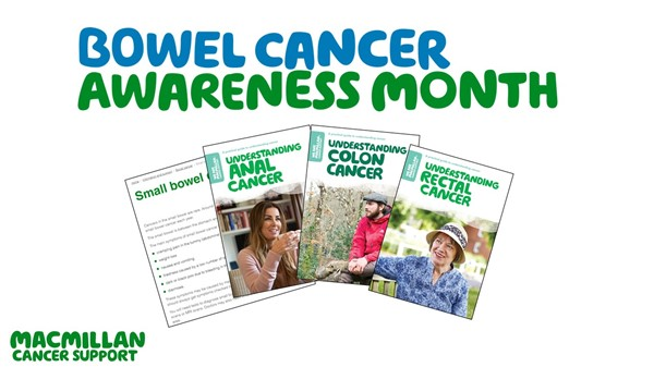 a banner containing images of our bowel cancer booklets.