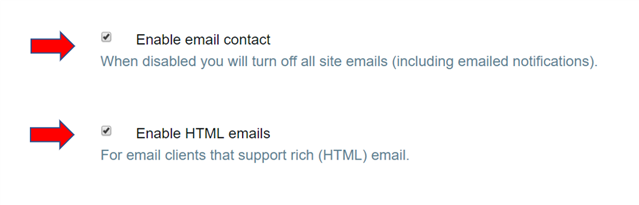 Email contact options