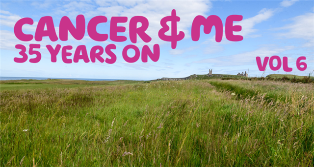 The words 'Cancer & me 35 years on - vol 6' written in pink over an image of a green field on a sunny day.