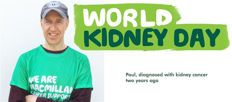 This banner is for World Kidney Day. It shows Paul, who was diagnosed with kidney cancer two years ago.