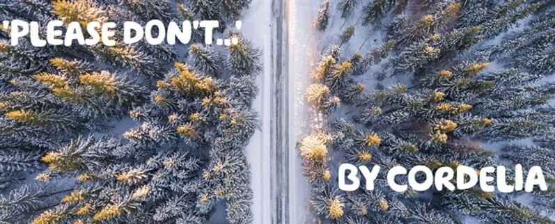 """'Please Don't …' By Cordelia"" Written over an aerial photo of a snowy path through a forest."