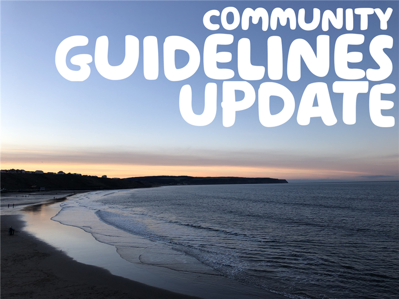 'Community guidelines update' written in white over a picture of a sunset over the sea.